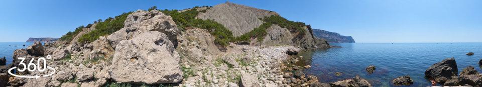 Пляж Серая скалка - панорама 360 градусов