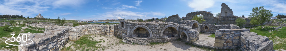 Храм с аркосолиями Херсонес Таврический. Панорамная фотография 360 гр.